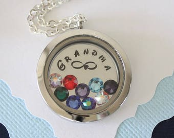 Grandma Floating Locket Necklace Personalized, Mother Gift, Birthstone Charm, Heart Charm, Monogram Necklace, GG, Gigi, Grandma, Gma