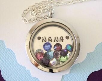 Nana Floating Locket Necklace Personalized, Mother Gift, Birthstone Charm, Heart Charm, Monogram Necklace, Mom, GG, Gigi, Grandma, Gma