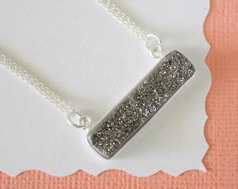 Gray Druzy Necklace, Crystal Necklace, Thin Druzy Pendant, Sideways Druzy, Silver, Silver Druzy, Frost Pendant,  Natural Stone, DRZY12