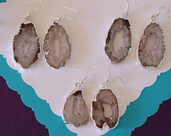 Geode Earrings, Crystal Slice Earrings, Agate, Druzy Silver Earrings, Agate, Stone Slice Earrings GSE55