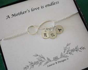 Initial Bracelet Infinity, Initial Charms, Holiday Card, Christmas Gift,  Sterling Silver, Mother Bracelet, Grandma, Monogram Bracelet