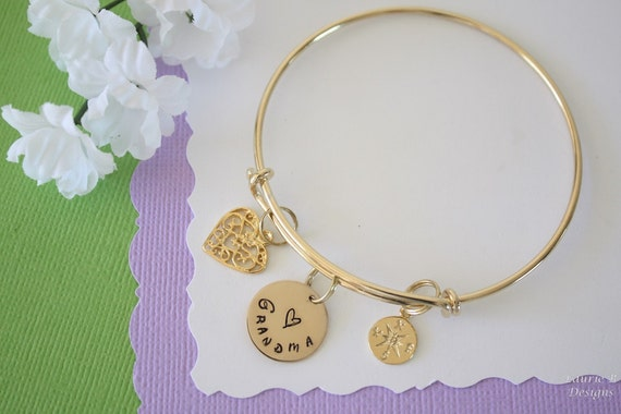 Initial Bangle Gold Filled Compass Bangle Grandma Bangle Bracelet Gold Monogram Bangle Expandable Mother Nana Bracelet Heart Bangle