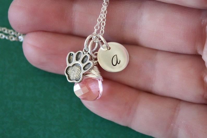 Sterling Silver Teen Initial Charm Necklace Paw Charm Personalized Pet Necklace Monogram Necklace Birthstone Dog Charm