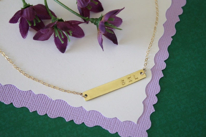 Rectangle Mother Necklace Gold Gold Personalized Necklace Name Charm Gold Initial Grandma Tiny Gold Bar Necklace