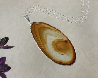 Brown Agate, Agate Pendant, Agate Necklace, Silver Plated Tan Agate Slice Jewelry, APS120