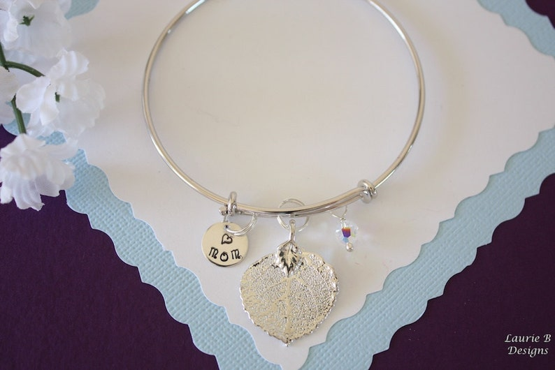 Sterling Silver Initial Real Leaf Bracelet Personalized Silver Leaf Silver Aspen Crystal Mother Gift Monogram Mom Bangle Silver