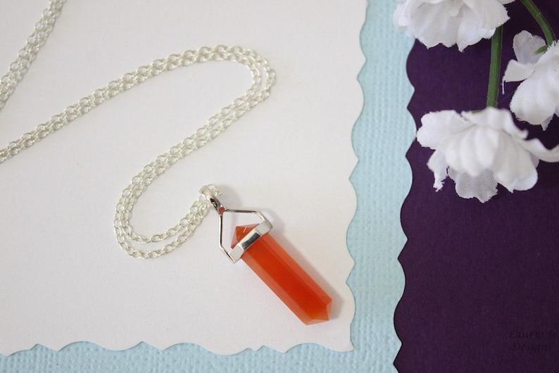 Sterling Silver Gemstone Necklace Natural Stone Carnelian Gemstone Pendant Thin Spear Pendant Natural Clear Spear Necklace Carnelian
