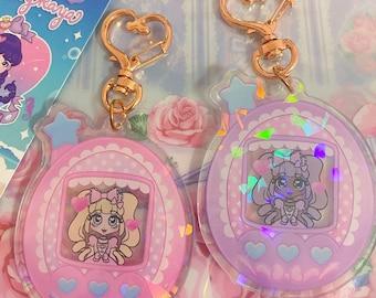 Kawaii Tamagotchi x Sweet Lolita Holographic keychain, jfashion acrylic charm