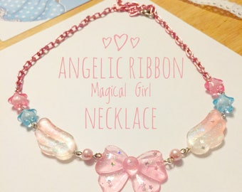 Magical Girl, Pink Ribbon,  Angel Wing, mahou shoujo, Resin Necklace, glitter jewelry, jfashion accessories