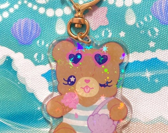 Kawaii Beach Bear Keychain, jfashion bag charm, holographic acrylic keychain, summer