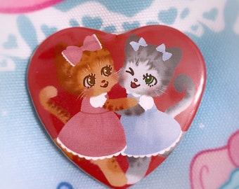 Kawaii Smitten Kitten heart pin back badge, pin back button, lolita fashion cats
