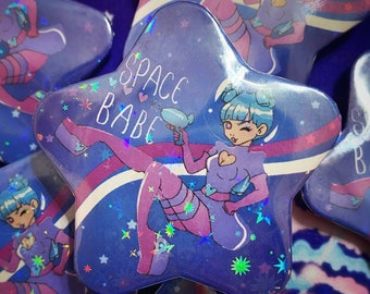 Holographic Space Babe Star Pin, star shape pinback button, kawaii art, space girl, Uchuu kei