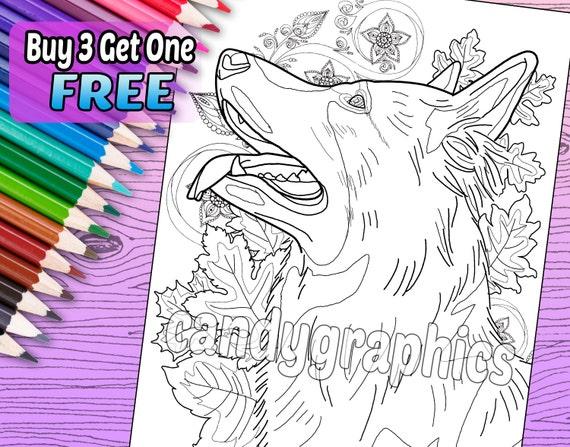 Kleurplaten Honden Duitse Herder.Duitse Herder Volwassen Boek Kleurplaat Afdrukbare Instant Download
