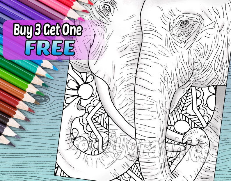 elephant love adult coloring book page printable instant