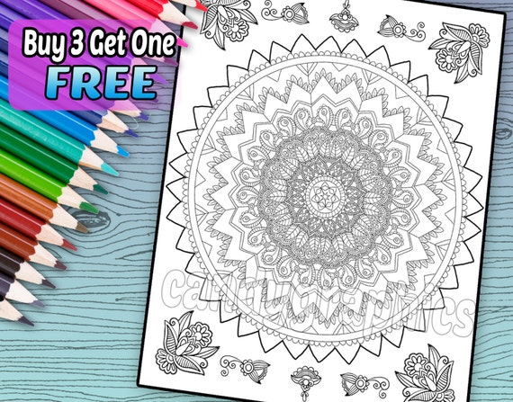 - Intricate Mandala Design Adult Coloring Book Page Etsy