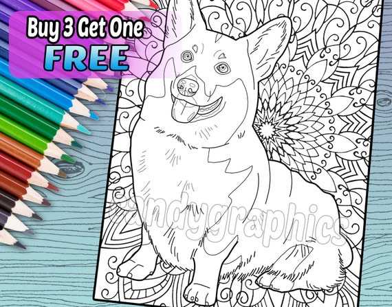 Cute Corgi Adult Coloring Book Page Printable Instant Etsy