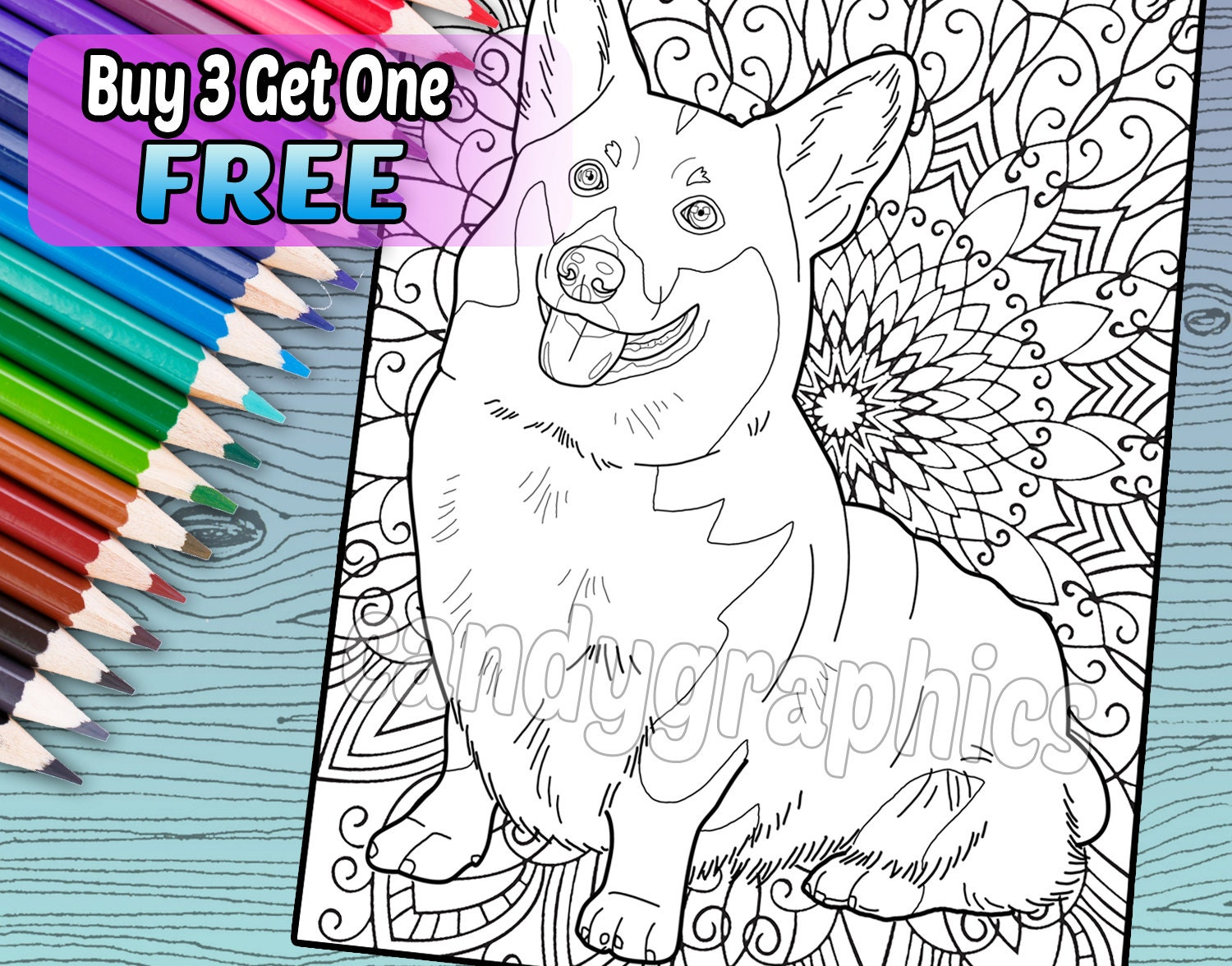 - Cute Corgi Adult Coloring Book Page Printable Instant Etsy