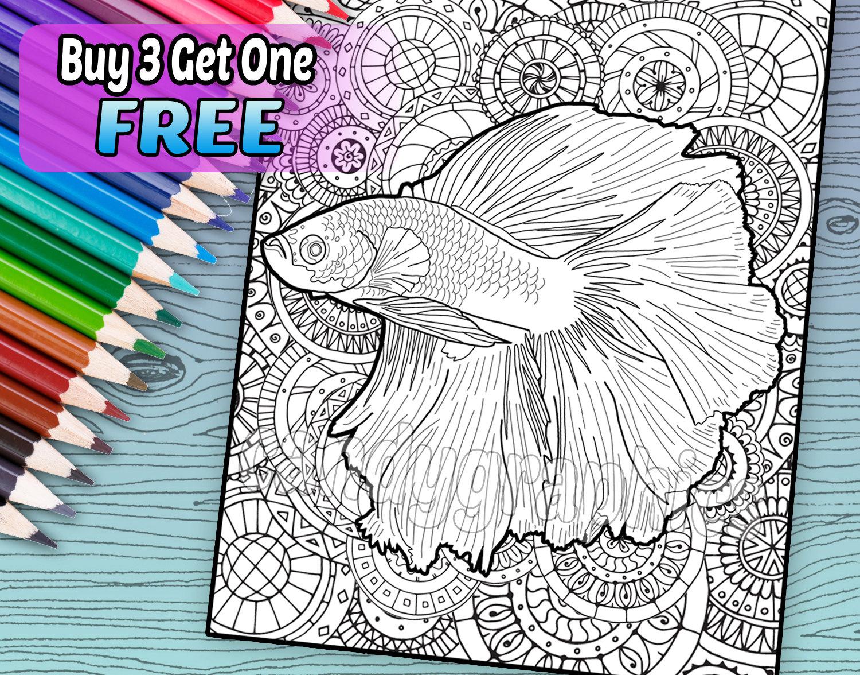 Hermoso Betta peces página de libro de adulto para colorear