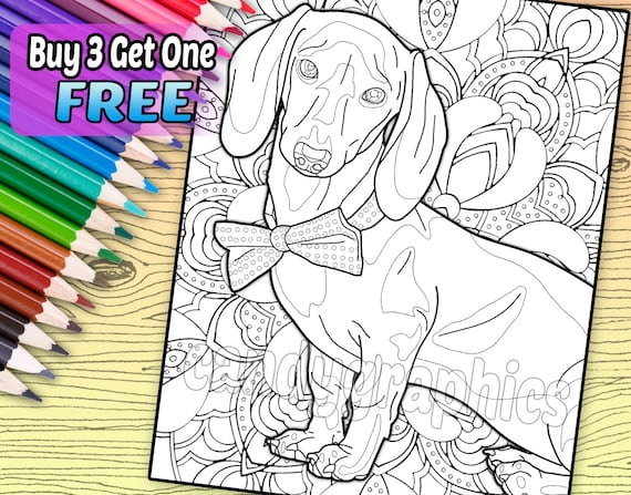 Dapper Dachshund Adult Coloring Book Page Printable