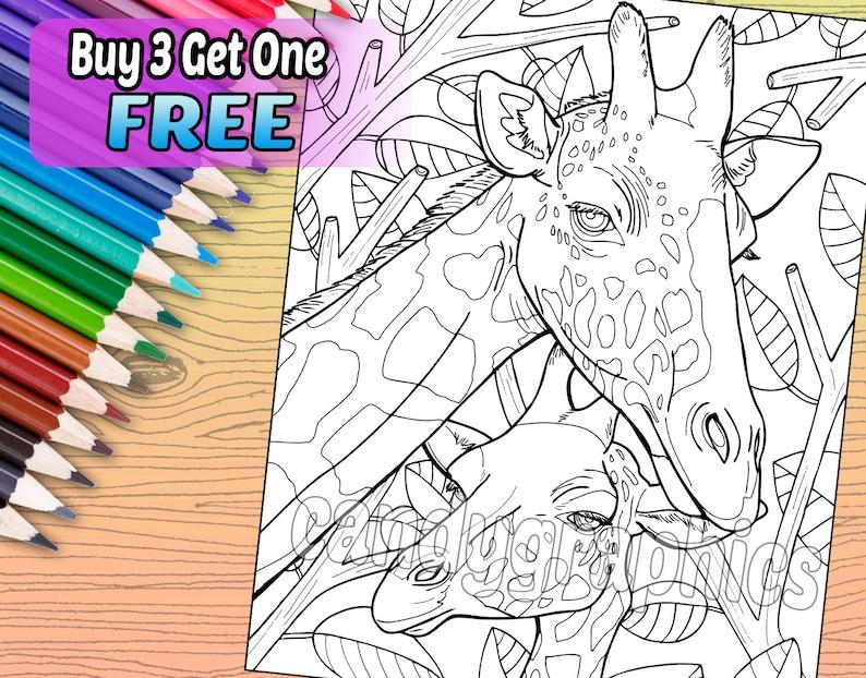 Coloriage Adulte Girafe.Girafe Adulte Coloriage Livre Page Telechargement Numerique Instantane