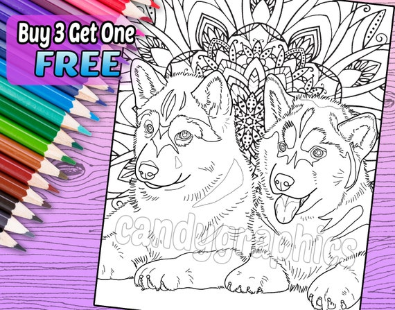 - Husky Puppies Adult Coloring Book Page Printable Instant Etsy