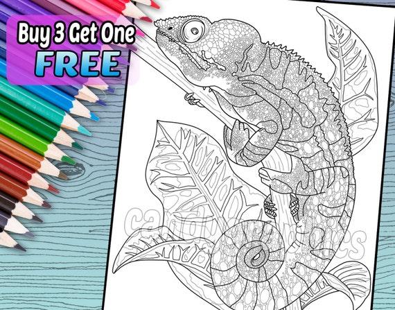 Camaleón Cool página de libro de adulto para colorear para