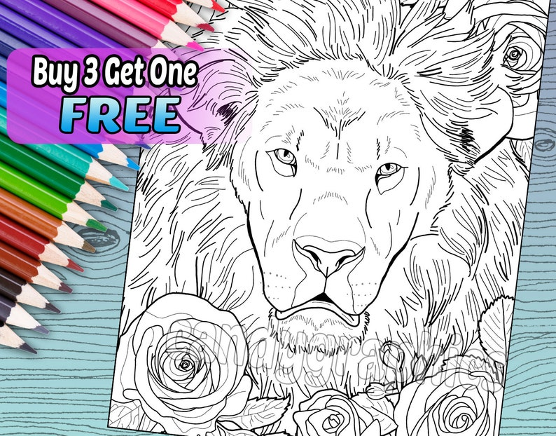 Lovely Lion Adult Coloring Book Page Printable Instant Download