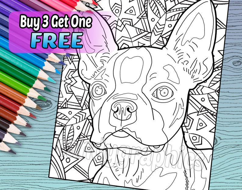Coloriage Adulte Fini.Boston Terrier Adulte Livre Coloriage Imprimable Etsy