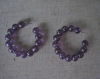 Vintage 50s PURPLE HOOP Earrings Glitter Lucite 1950s Pierced