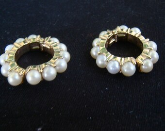 50s Vintage Faux PEARL Earrings HOOPS 1950s