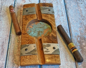Large Double Cigar Holder, Wood Ashtray, Cigar Rest, Barrel Stave, Cigar Accessories, Best Man or Groom Gift, Copper Ashtray, Home Bar Gift