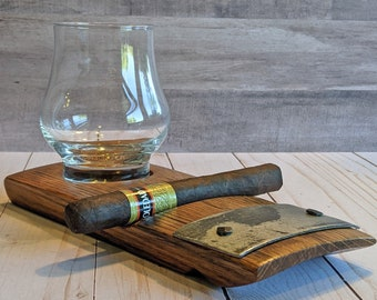Bourbon and Cigar Holder, Whiskey Tasting, Cigar Rest, Personalized Gift, Glass & Cigar, Home Bar, Cigar Accessory, Groom Gift, Father's Day