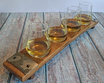 Bourbon Whiskey Tasting Flight, Barrel Stave, Beer & Bourbon Tasting, Flight with glasses, Groomsmen Best Man Gift, Flight, Scotch, Home Bar
