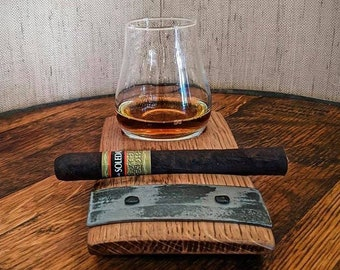 Bourbon Whiskey Glass and Cigar Holder, Cigar Holder, Barrel Stave Coaster, Home Bar, Cigar Rest, Groom Gift, Bourbon lover, Father's Day