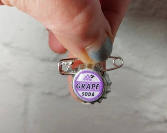 Tiny Ellie Badge Grape Soda PIN - LP -  Personalized - Wilderness Explorer - Wedding Groom Gift