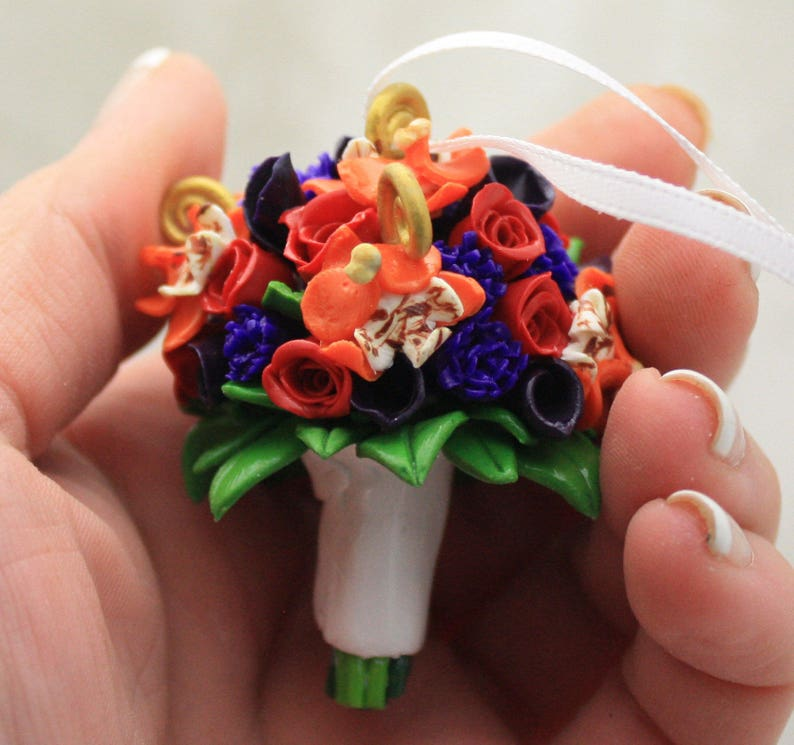 Wedding Bouquet Mini Replica Custom Ornament  Wedding Gift  image 0