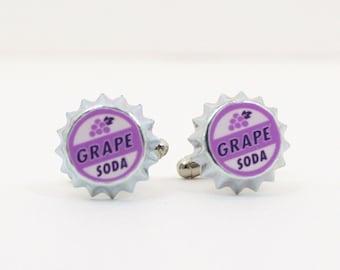 CUFFLINKS Ellie Badge Grape Soda Pin LP  - Wedding Groom Gift - Father's Day - Tuxedo Studs