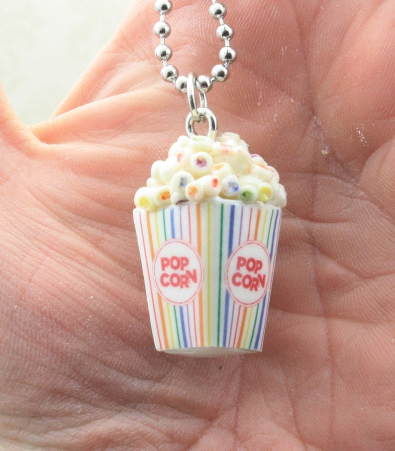 Movie Theater Popcorn Necklace  Rainbow or Buttered image 0