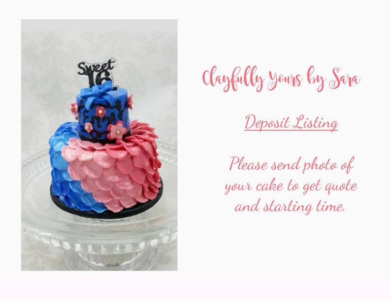Sweet 16 Cake Mini Replica Custom Ornament  Replica Cake  image 0
