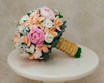 Wedding Bouquet Mini Replica Custom Ornament - Wedding Gift - First Anniversary - Newlyweds Gift - Clay Ornament Shop