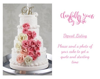 Wedding Cake Mini Replica Ornament - Replica Cake - Wedding Gift - First Anniversary - Newlywed Gift - Clay Ornament