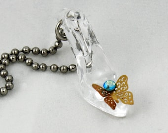 Cinderella's Glass Slipper Necklace - Gold Filigree Butterfly Blue Rhinestone - Once Upon a Time Jewelry - Fairy Tales Wedding Cosplay Prom