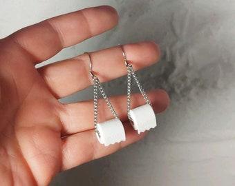 Toilet Paper Roll Dangle Earrings - Gag Gift - White Elephant - TP - Tee Pee - Loo - 2020