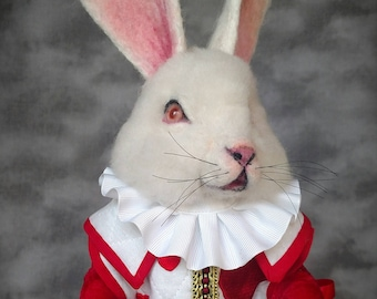 Wonderland The White Rabbit in a Red Queen Hearts Tunic Needle felted Storybook OOAK Doll