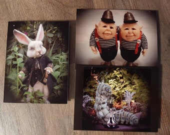 Set Of 3 Alice in Wonderland  Note Cards 5.5 by 4 Cheshire Cat March Hare Blue Caterpillar Needle Felt by Artist Stevi T Frameable Designs