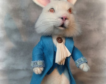 Wonderland The White Rabbit in a Blue Waistcoat Needle felted Storybook OOAK Doll
