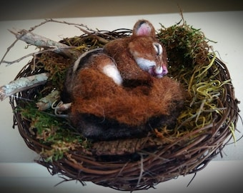 Natural Spring Twig Nesting baby Chipmunk One of a Kind Alpaca Needle felted Soft Sculpture by Stevi T.