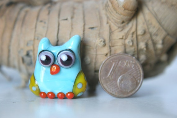 Lampwork, Glass, Bead, Owl, Talisman, Two-tone shades of  turquoise and yellow, with dots, By Ghirigori Glass