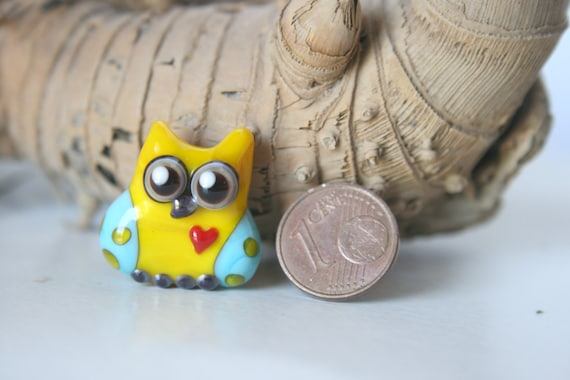 Lampwork, Glass, Bead, Owl, Talisman,  with heart, Two-tone shades of yellow and turquoise., with dots, By Ghirigori Glass