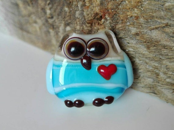 Lampwork Glass Bead, Owl, Talisman with heart, Color aquamarine and ivory, ,By Ghirigori Glass